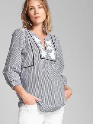 Gap Maternity Embroidered Split-Neck Blouse