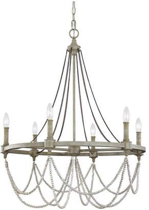 Feiss Beverly 6-Light Chandelier, French Washed Oak