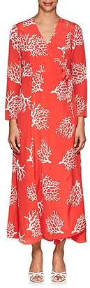 Leone WE ARE Women's Coral-Print Silk Maxi Wrap Dress