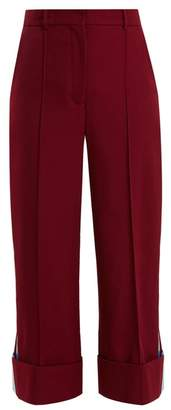 Racil - Leonard Side Stripe Wide Leg Wool Cropped Trousers - Womens - Burgundy Multi