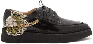 No.21 NO. 21 Crystal-embellished leather lace-up creepers