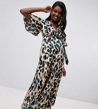 Queen Bee wrap front cap sleeve maxi dress with thigh split in green leopard print