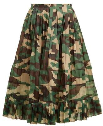 Junya Watanabe High Rise Camouflage Print Pleated Skirt - Womens - Green Multi