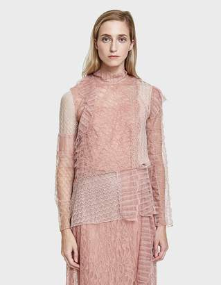 3.1 Phillip Lim Long Sleeve Lace Patchwork Blouse