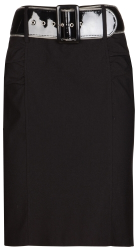 Zipper Belted Pencil Skirt