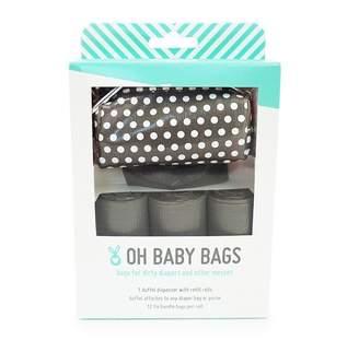 Oh Baby Bags Duffel Diaper Dispenser Gift Box Grey White Dots