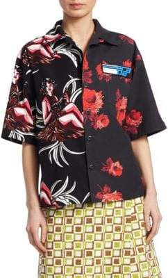 Prada Short Sleeve Printed Cotton-Poplin Shirt