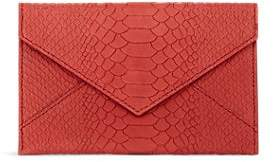 Barneys New York CROCODILE-STAMPED LEATHER ENVELOPE POUCH - PINK