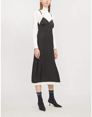 McQ Dot and bird-weave silk-satin dress