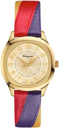Salvatore Ferragamo Time Square Leather Strap Watch, 36mm