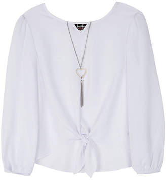 BY AND BY GIRL by&by girl Girls Keyhole Neck Long Sleeve Blouse Big Kid