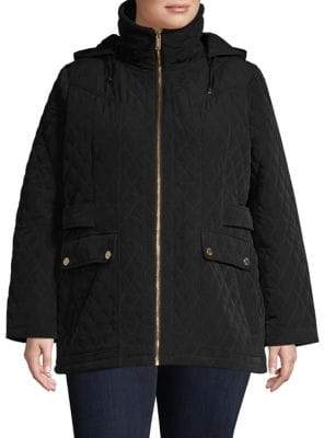 London Fog Quilted Long-Sleeve Jacket