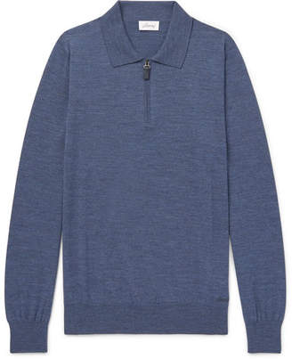 Brioni Wool Half-Zip Polo Shirt