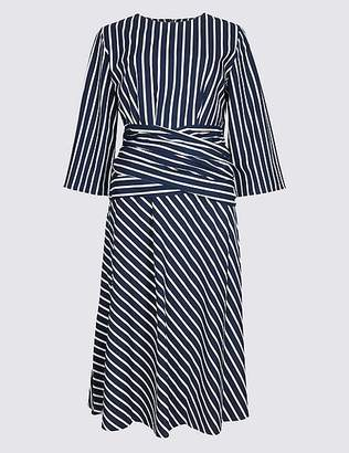 Marks and Spencer Pure Cotton Striped Tie Waist Tunic Dress