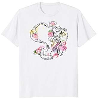 Disney Tangled Rapunzel Floral Color Splash Graphic T-Shirt