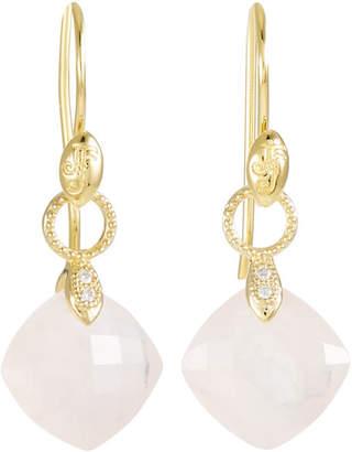 Jude Frances 18K Gold Lisse Small Cushion Silhouette Earrings, Rose Quartz