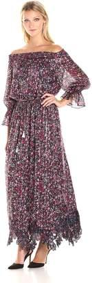 Elie Tahari Women's Danielle Dress, Black/Multi, L