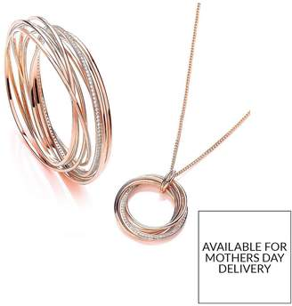Buckley London Rose Gold Plated Cubic Zirconia Elegance Russian Twist Bangle & Necklace Set With FREE Gift Bag