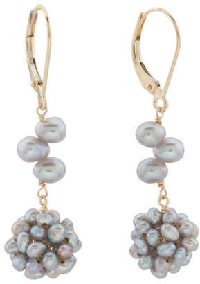 Made In Usa 14k Gold And Grey Pearl Cluster Earrings