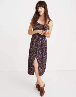 Madewell Tie-Strap Midi Dress in Garden Party