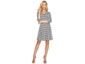Taylor V-Neck Geo Print Knit Jacquard Dress Women's Dress