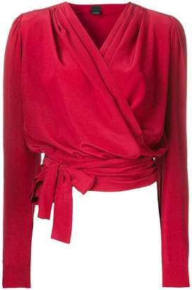 Pinko wrap front cropped blouse