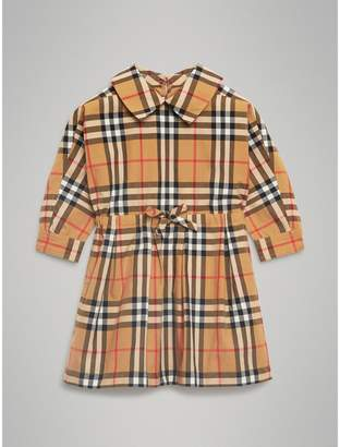 Burberry Vintage Check Cotton Drawcord Dress