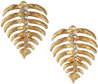 Kenneth Jay Lane Satin Crystal Leaf Earrings