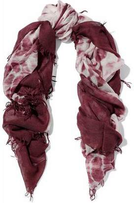 Chan Luu Fringed Tie-Dyed Cashmere And Silk-Blend Gauze Scarf