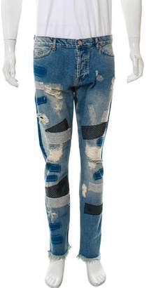 James Long Cropped Distressed Patchwork Jeans w/ Tags