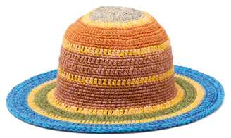Etro Striped Crocheted Cotton Blend Hat - Womens - Multi