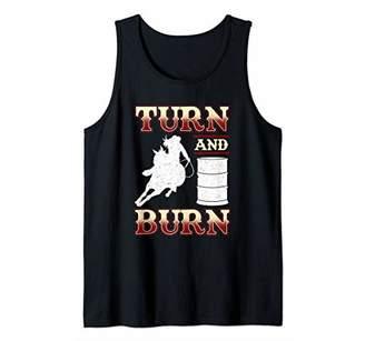 Turn and Burn - Cowgirl Horse Silhouette - Barrel Racing Tank Top