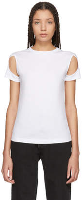 Helmut Lang White Cut Out Sleeve T-Shirt