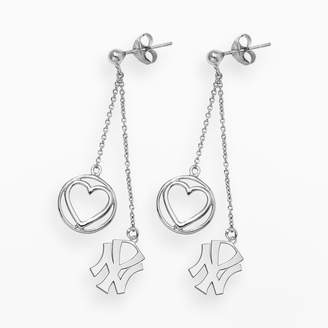 New York Yankees Logoart LogoArt Beloved Sterling Silver Linear Drop Earrings
