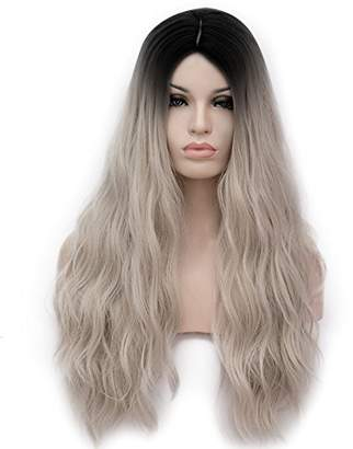 Amback Dye Dark Roots Cosplay Halloween Wig for Women Curly Wave Hair Wigs Cap RF4