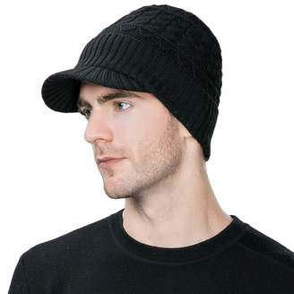 b12e3560ba4 Siggi 37% Wool Knit Visor Beanie Mens Winter Hat Brim Cuff Newsboy Jeep Cap  Cold