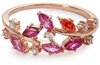 Anabela Chan 'Ivy' ruby sapphire garnet 9k rose gold ring