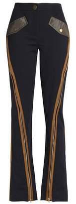 Peter Pilotto Zip-Detailed Cotton-Blend Twill Bootcut Pants