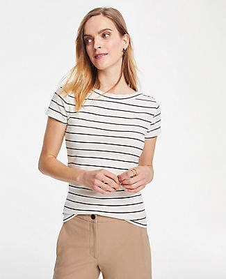 Ann Taylor Striped Boatneck Luxe Tee
