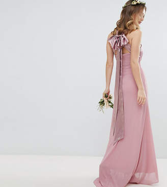 TFNC Petite Bow Back Pleated Maxi Bridesmaid Dress