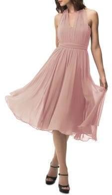 Jenny Yoo Chiffon Halter Overlay Dress