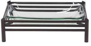 DecMode Decmode 6 X 19 Inch Modern Metal And Glass Rectangular Decorative Bowl, Black
