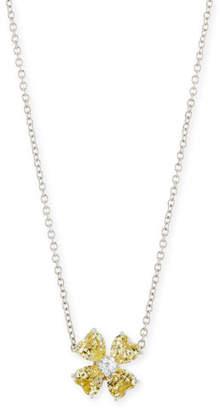 FANTASIA Yellow CZ Clover Pendant Necklace
