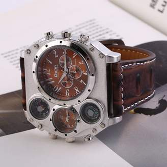 DOWL Men Watch Multi Hours Marks Big Dial Leather Band Military Wristwatch