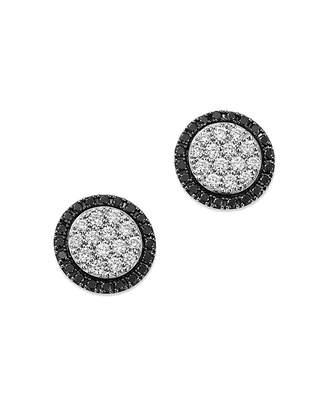 Bloomingdale's White & Black Diamond Circle Stud Earrings in 14K White Gold - 100% Exclusive