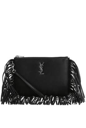 Saint Laurent Signature Clutch Fringe Black