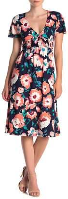 Velvet Torch Short Sleeve Floral Print Dress