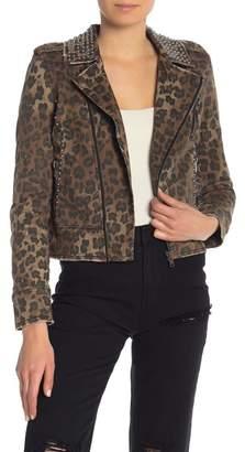 Moto Tinsel AFRM Studded Leopard Print Jacket