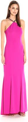 Carmen Marc Valvo Women's Beaded Halter Gown
