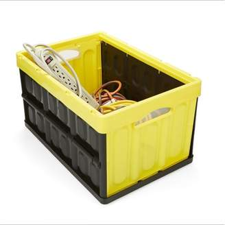 Mind Reader Heavy Duty Collapsible and Stackable Storage Bin/Container, Solid Wall Utility Basket/Tote, Black